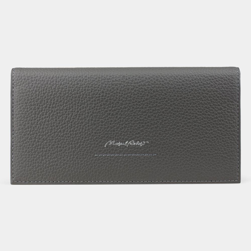 Длинный кошелек Eclair Bicolor из натуральной кожи теленка, серого цвета