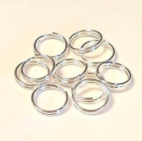 Кольцо двойное 8 мм серебро цена за 10 шт