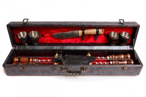 Кизлярский набор шампуров в коробке кожзам №5