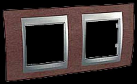 Рамка на 2 поста. Цвет Табачное дерево-алюминий. Schneider electric Unica Top. MGU66.004.0M4