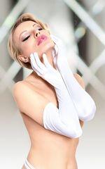 Длинные атласные перчатки -