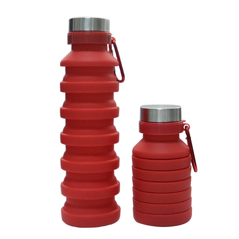 Бутылка для воды силиконовая складная с карабином 550 мл красная