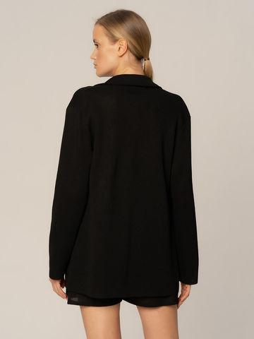 Женский жакет на поясе черного цвета из вискозы - фото 2