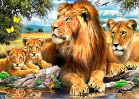 Алмазная Мозаика 40x50 Большая семья царя зверей (арт. S034)