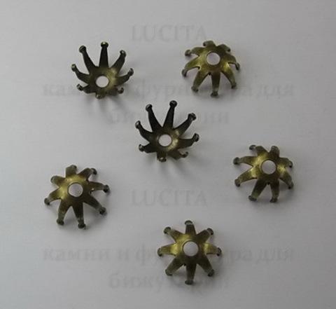 Винтажный декоративный элемент - шапочка 12х7 мм (оксид латуни) ()