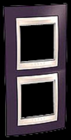 Рамка на 2 поста. Цвет вертикальная Гранат/Бежевый. Schneider electric Unica Хамелеон. MGU6.004V.572