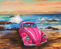 Картина раскраска по номерам 40x50 Розовый автомобиль
