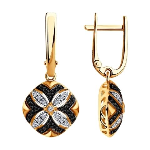 7020049 - Серьги из золота с бесцветными и чёрными бриллиантами