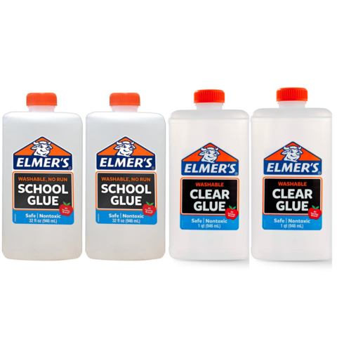 Клей для слайма Elmer's Clear Glue прозр + School Glue белый 4 х 946 мл