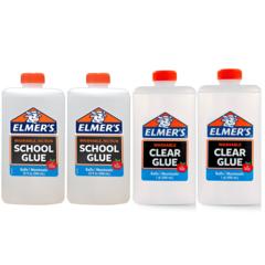 Клей для слайма Elmer's Clear Glue прозр + School Glue белый 4 х 946 мл