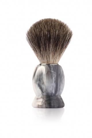 Помазок для бритья Mondial, пластик, ворс барсука, рукоять - цвет - серый мрамор