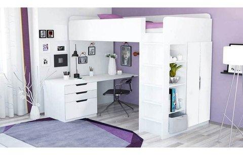Кровать-чердак Polini kids Simple с письменным столом и шкафом, белый МДФ