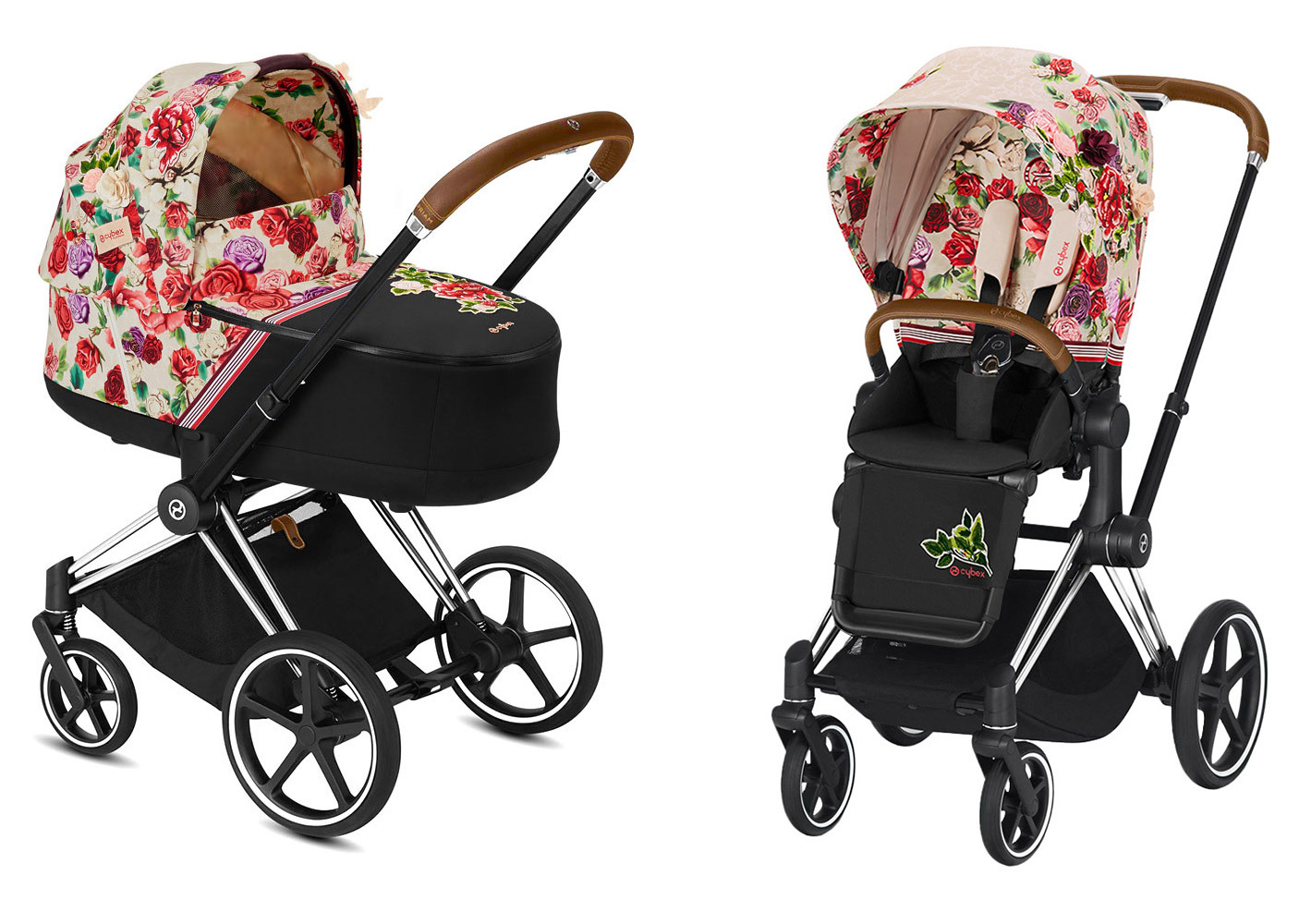 Цвета Cybex Priam 2 в 1 Детская коляска Cybex Priam III 2 в 1 FE Spring Blossom Light шасси Chrome cybex-priam-iii-2-in-1-spring-blossom-light-chrome.jpg