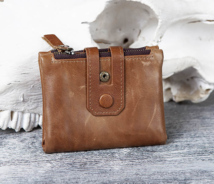 WL307-2 Мужское портмоне коричневого цвета из натуральной кожи фото 02