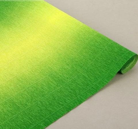 Гофрированная бумага с переходом. цвет 600/5 желто-зеленый, 180г, 50х250 см, Cartotecnica Rossi (Италия)