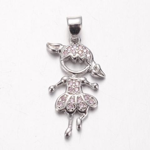 Подвеска девочка балерина c розовыми цирконами 24 мм цвет платина 2 по цене 1