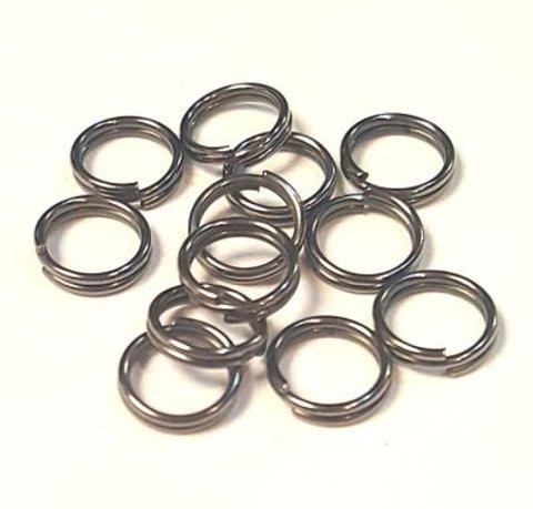 Кольцо двойное 8 мм цвет темный металл цена за 10 шт