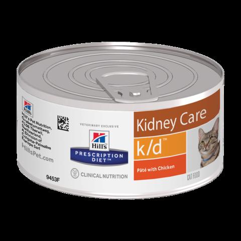 Hill's Prescription Diet K/D Консервы для кошек при заболеваниях почек, МКБ (оксалаты, ураты) Банка