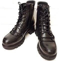 Женские зимние ботинки кожаные. Зимние черные ботинки на шнуровке Marani Magli 03-0073.     37-й размер