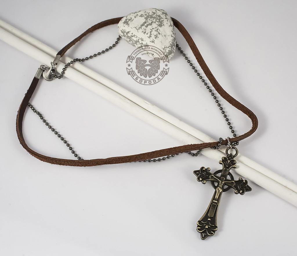 PL255 Мужская подвеска на кожаном шнурке и цепочке с металлическим крестом фото 02