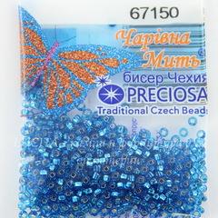 67150 Бисер 10/0 Preciosa прозрачный аквамарин с серебряным квадратным центром