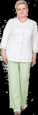 Костюм МАРИНА белый-зелёный