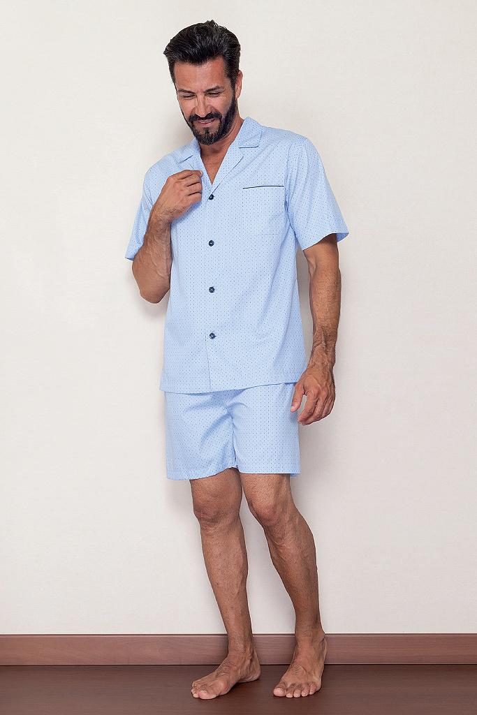 Голубая мужская пижама с шортами B&B