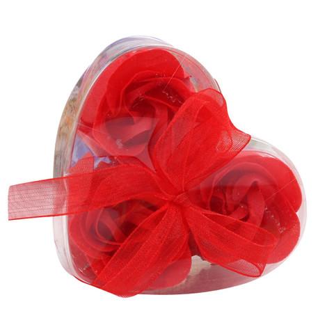 Мыльные розы в коробке красные (3шт)