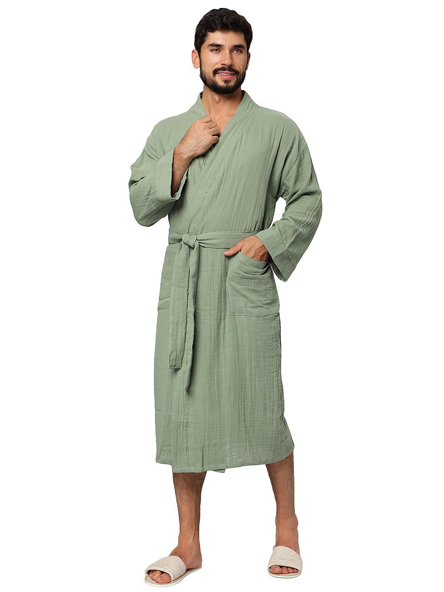 Оливковый муслиновый банный халат