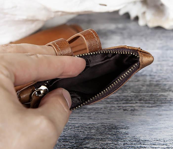 WL307-2 Мужское портмоне коричневого цвета из натуральной кожи фото 04