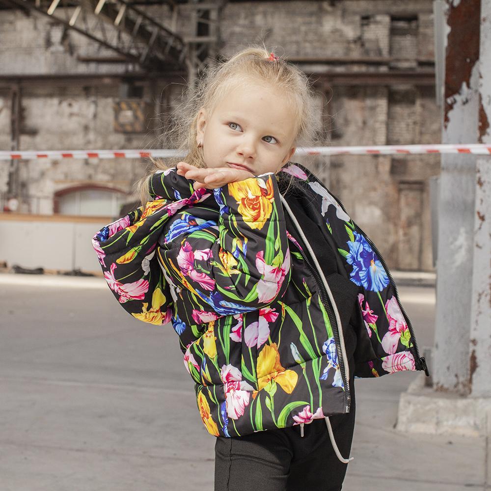 Дитяча демісезонна куртка з принтом «Іриси» на дівчинку