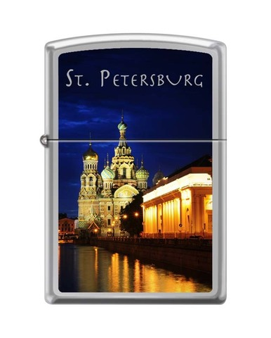 Зажигалка ZIPPO Classic High Polish Chrome™ Полноцветное изображение храма Спаса-на-Крови  ZP-250 ST PETERSBURG CHURCH