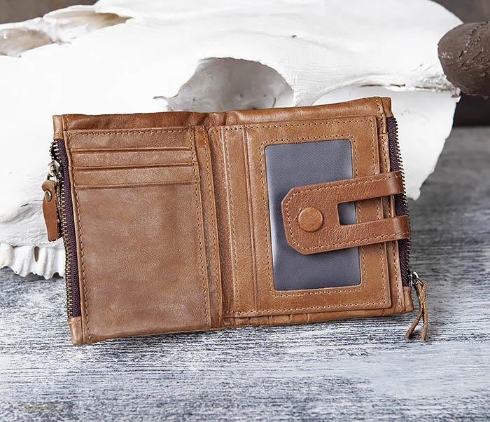 WL307-2 Мужское портмоне коричневого цвета из натуральной кожи фото 05