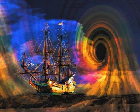 Алмазная Мозаика 30x40 Корабль в волшебном мире