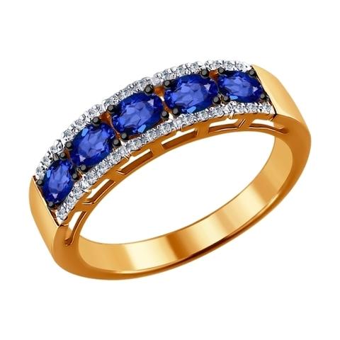 2011007 - Кольцо из золота с бриллиантами и сапфирами