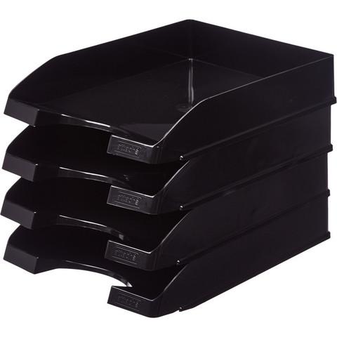 Лоток для бумаг горизонтальный Attache черный (4 штуки в упаковке)
