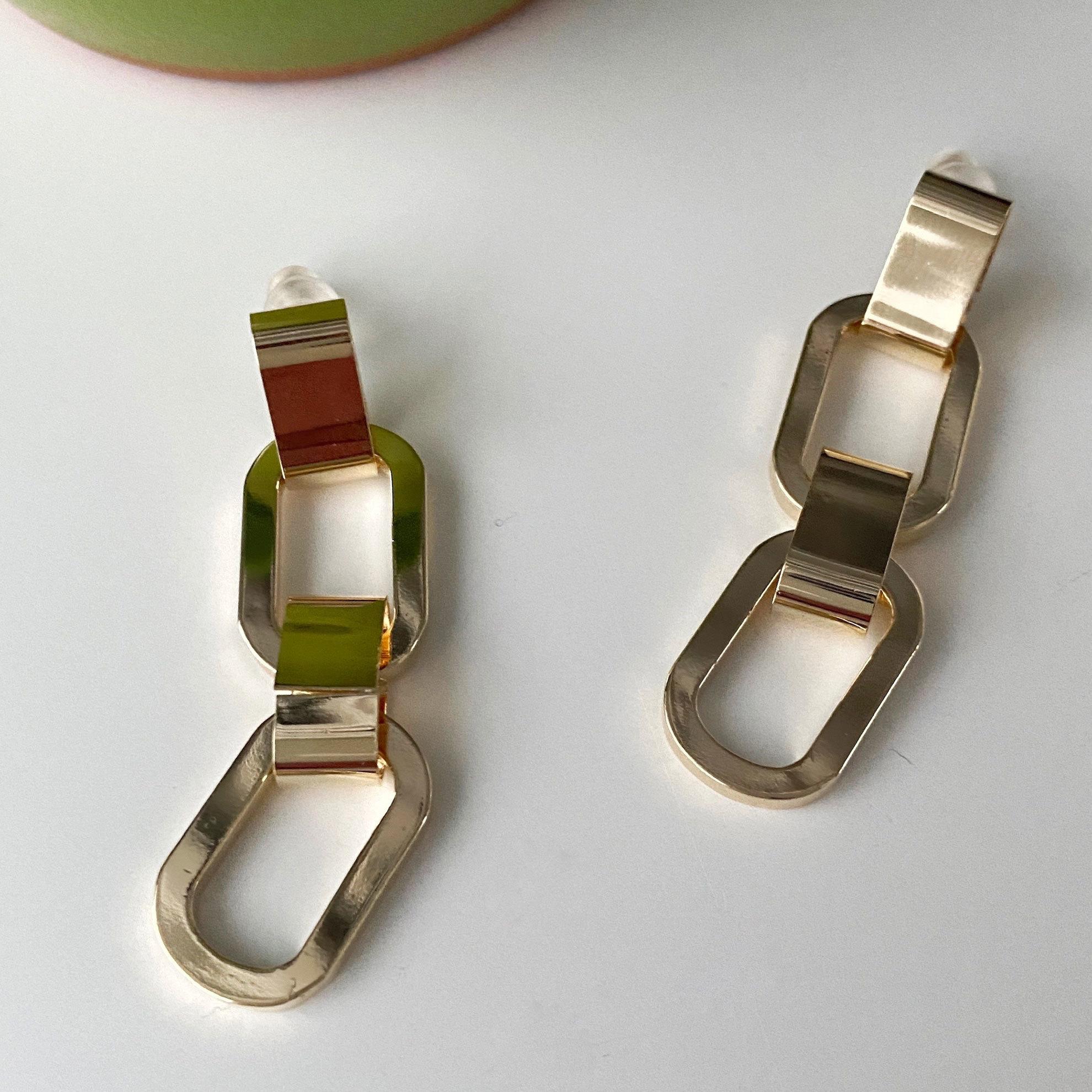 Серьги-цепи из комби звеньев (золотистый) ш925