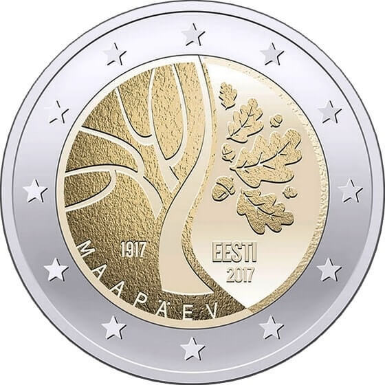 "2 евро ""Дорога Эстонии к независимости"" 2017 год"