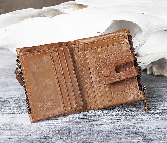 WL307-2 Мужское портмоне коричневого цвета из натуральной кожи фото 06