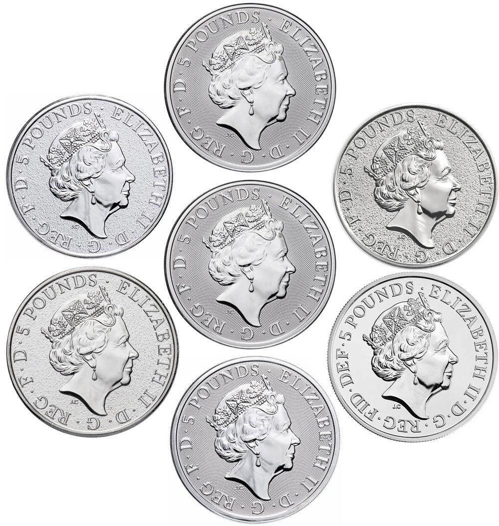 Набор из 7 монет 5 фунтов. Звери Королевы. Великобритания. 2016-2019 г.г