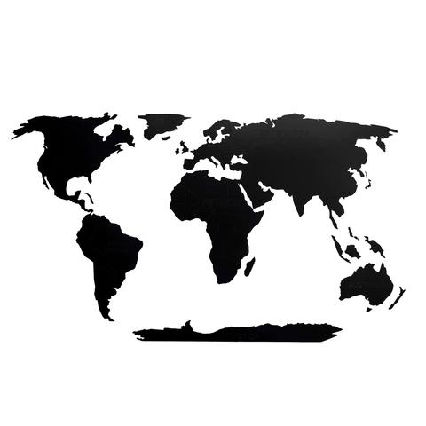Деревянная карта мира 80х40 см Continent Еdition с гравировкой материков, черная