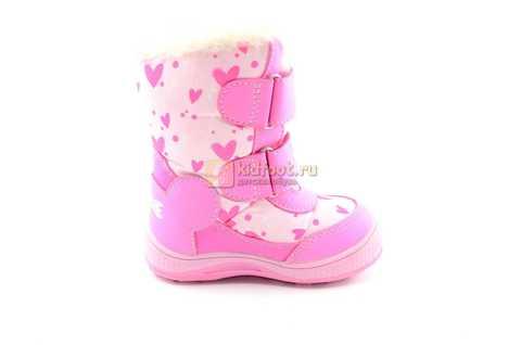 Зимние сапоги Минни Маус (Minnie Mouse) на липучках с мембраной для девочек, цвет розовый. Изображение 2 из 13.