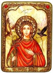 Инкрустированная икона Святая Великомученица Ирина Македонская 29х21см на натуральном дереве в подарочной коробке