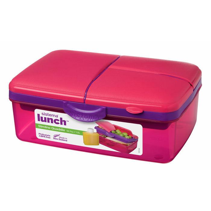 """Ланч-бокс с бутылкой Sistema """"Lunch"""", 4 секции, 1,5 л, цвет Розовый"""