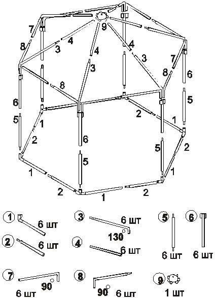 Схема сборки шатра-беседки Митек 6 граней Ø 18 мм