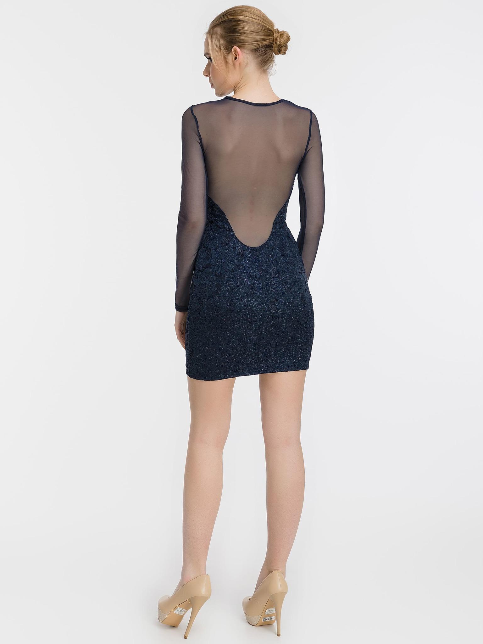 Блестящее кружевное мини платье, синее