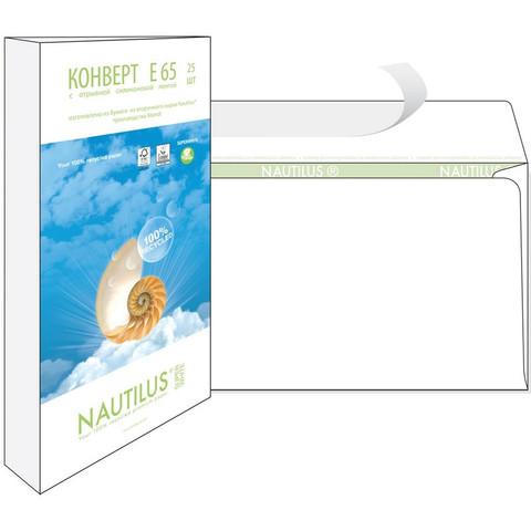 Конверт Nautilus Bong Е65 80 г/кв.м белый стрип с внутренней запечаткой (25 штук в упаковке)