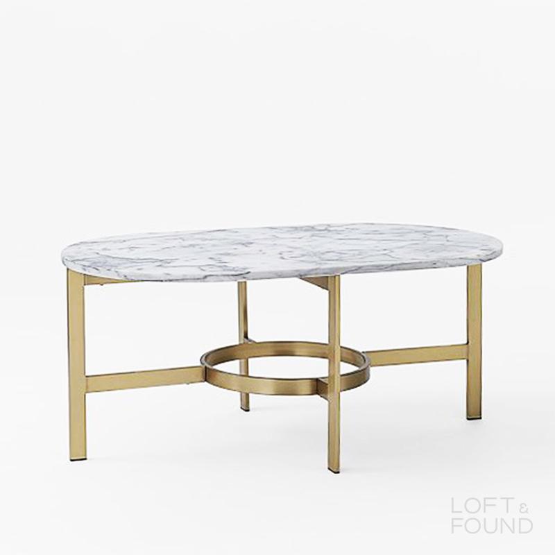 Журнальный столик West Elm White Marble Coffee Table