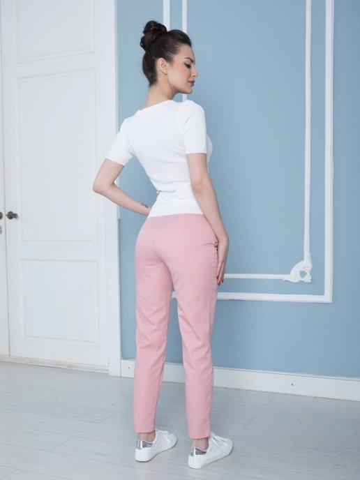 Б-122 MediS.moda пудрово-розовые брюки