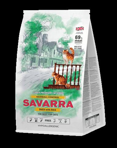 Купить Savarra Hairball Control Cat Duck and Rice Сухой корм для взрослых длинношерстных кошек, помогающее избавиться от образования комочков шерсти в желудке с уткой и рисом